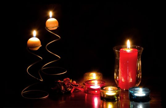 table, candles, Fire, flame, still life