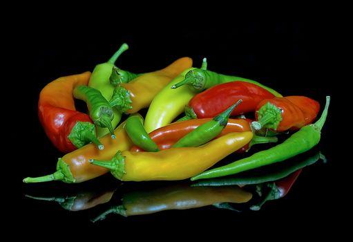 pepper, vegetables, Black background, food