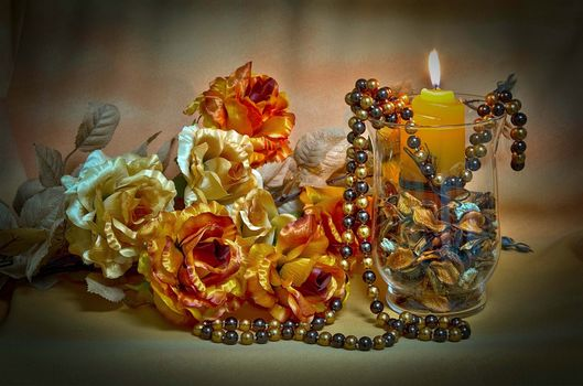 wineglass, candle, flowers, bead, still life