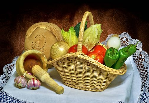 静物, 食品, 蔬菜, 胡椒, 面包, 弓, 蕃茄, 大蒜, 篮
