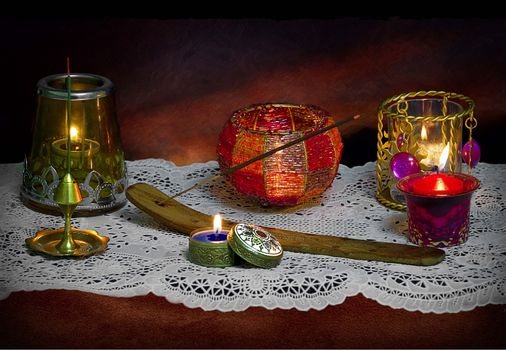 table, candles, still life
