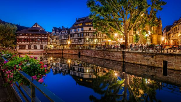 Strasbourg, France, night, lights, illyuminatsiya