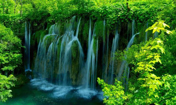 Plitvice, Croatia, waterfall, trees, landscape
