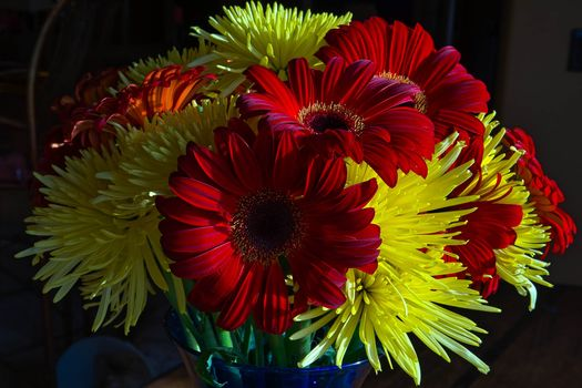 beautiful bouquet, flowers, chrysanthemum, gerberы, flora