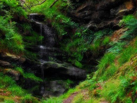 waterfall, rock, stones, water, nature