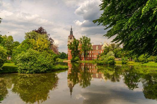 Furst, Puckler, Bad-Muskau Park, Castle, Germany, lake, trees, landscape