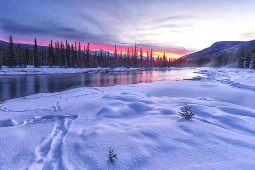 sunset, winter, River, the mountains, trees, landscape