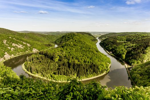 Saarschleife, River Saar, broom, Orschholz, Germany, landscape