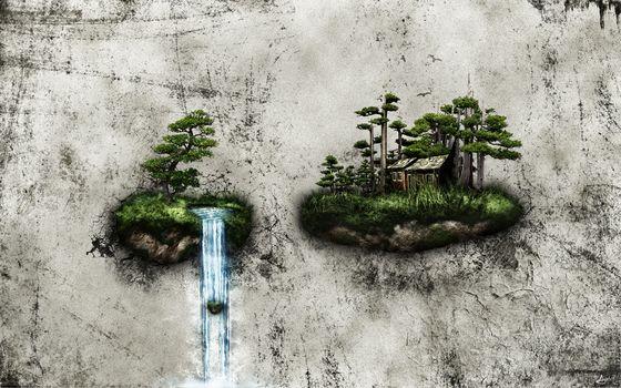 island, house, trees