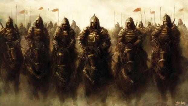 horses, horsemen, armor