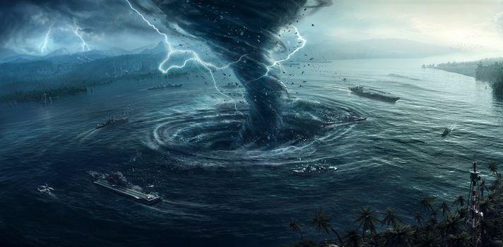 sea, city, storm, tornado, lightning, ships, Fiction, fantasy, art