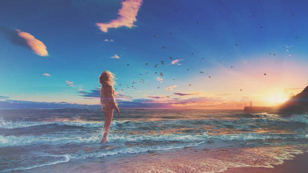 sunset, sea, Coast, birds, girl, landscape