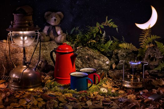 lamp, kettle, month, still life