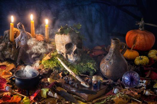 Halloween, still life, candles, skull, pumpkin, book