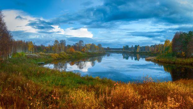 otoño, río, árboles, cielo, paisaje
