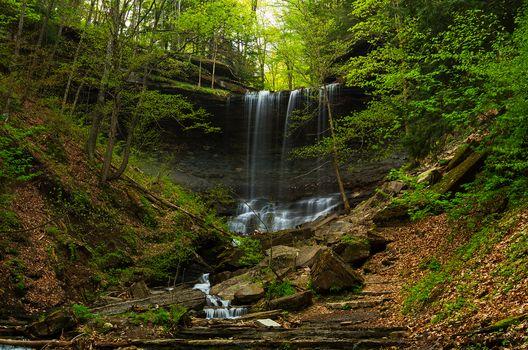 madera, árboles, cascada, piedras, naturaleza, paisaje