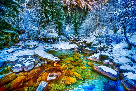 зима, речка, снег, лес, деревья, камни, пейзаж