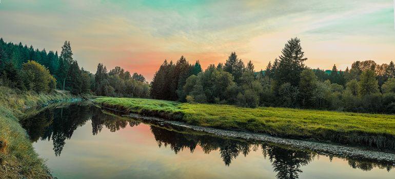 puesta del sol, río, madera, árboles, paisaje, vista