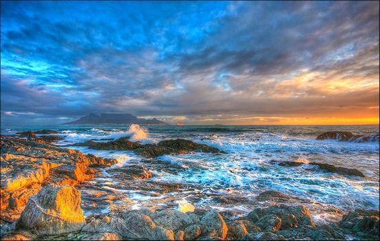 sunset, sea, rock, stones, waves, landscape