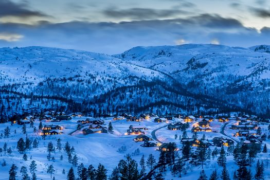 Southern Norway, blue hour, Sunset, dusk, cottages, at home, trees, the mountains, landscape