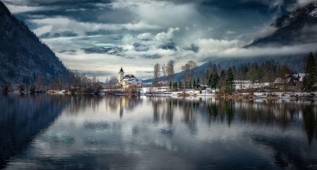 Alps, Austria, Grundlsee, lake, the mountains, trees, landscape