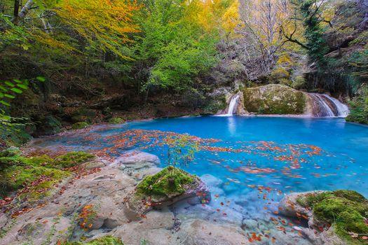 otoño, madera, árboles, masa de agua, cascada, paisaje