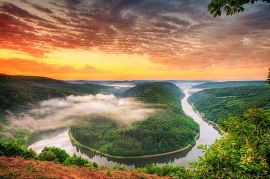 River Saar, Saar Loop in Mettlach, Germany, broom, Island, Mettlach, The Saar river loop, Saar River, Germany, Saarschleife, Orschholz