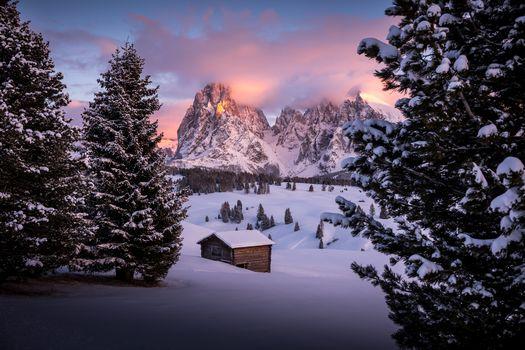 Сейзер Альм, Южный Тироль, dolomitы, Италия, зима, снег, сугробы, закат, горы, пейзаж