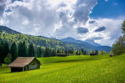 Mittenwald, Garmisch, Germany, Alps, field, hills, the mountains, lodge, trees, landscape