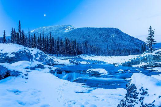 winter, Kananaskis, snow, trees, waterfall, alberta, Canada