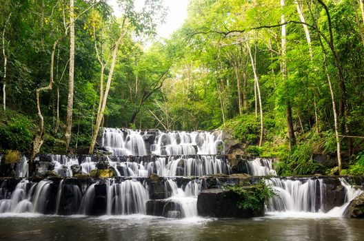 waterfall, Thailand, rock, trees, landscape