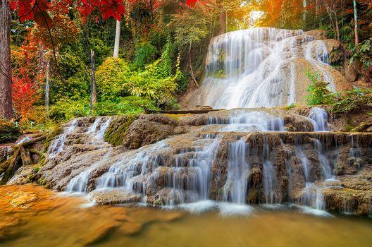 waterfall, Thailand, rock, autumn, trees, landscape