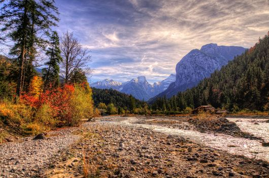 Autumn in the mountains, Karvendel, Austria, sunset, the mountains, trees, small river, Creek, stones, landscape