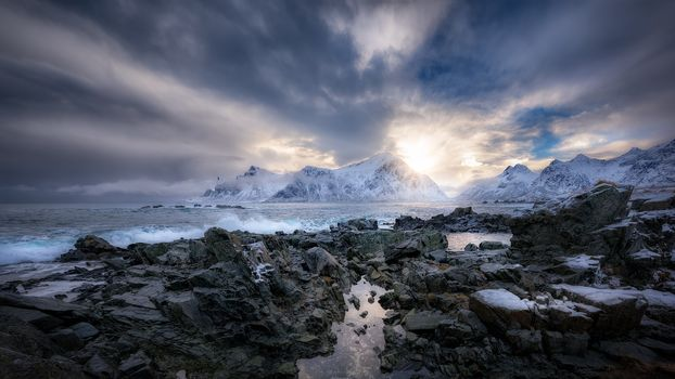 sunset, sea, rock, stones, the mountains, landscape