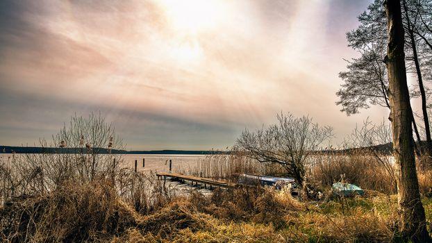 sunset, lake, a boat, bridge, berth, trees, landscape