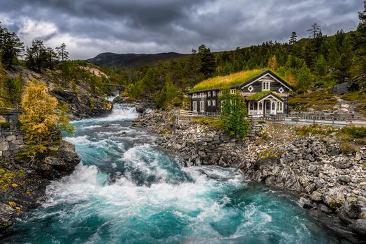 Appartment, Norway, River, the mountains, autumn, stones, lodge, trees, landscape