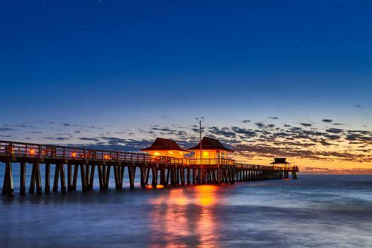 Naples Pier, Florida, sunset, sea, landscape