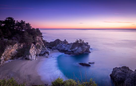 McWay Falls, Big Sur, California, Julia Pfeiffer Burns State Park, McWay Cove Beach, Big Sur, California, Julia Pfeiffer Bern Park, sunset, waterfall, sea, Coast, beach, landscape