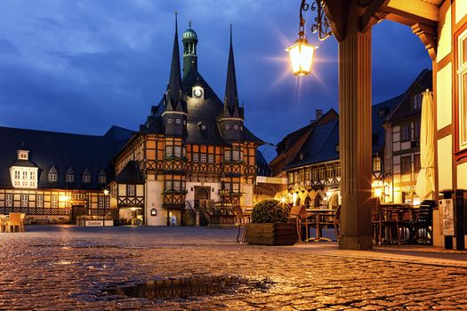 Town Hall, Wernigerode, Germany, Wernigerode, city, night, lights, illyuminatsiya
