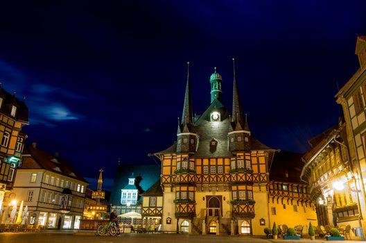 Town Hall, Wernigerode, Germany, Wernigerode, city, night, lights, illyuminatsiya