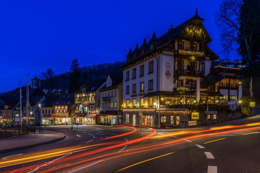 Triberg, Germany, night, lights, illyuminatsiya