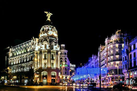 Madrid, Madrid, Spain, poch, lights, illyuminatsiya