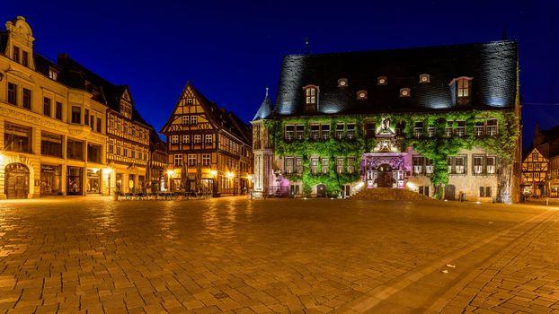 Quedlinburg, Germany, night, lights, illyuminatsiya