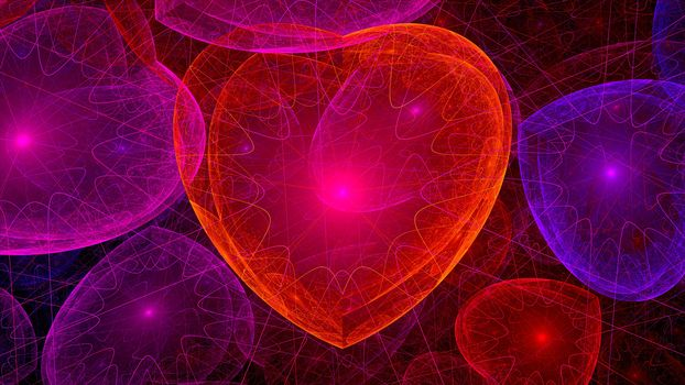 hearts, abstraction, background