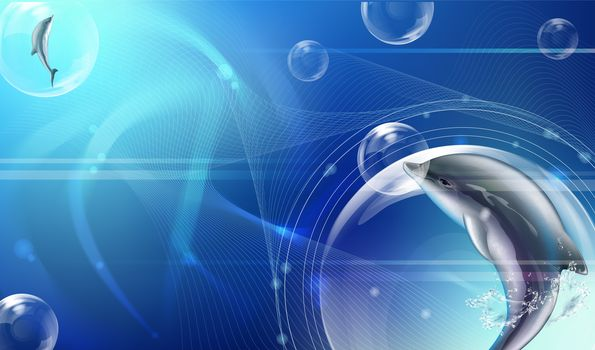 abstraction, background, Colour, the form, texture, fractal, wallpapers, Dolphins