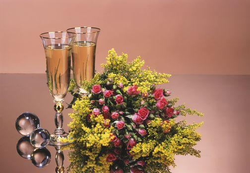 bouquet, roses, flowers, stemware, wine