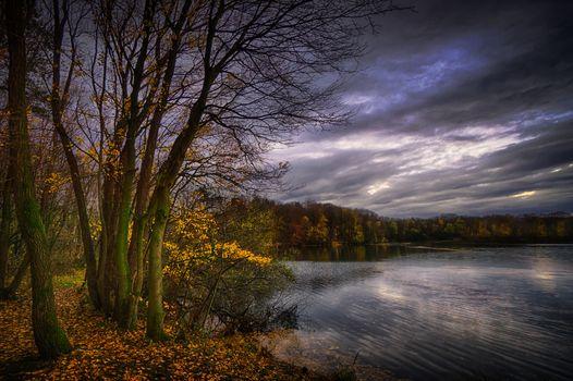sunset, autumn, lake, trees, landscape