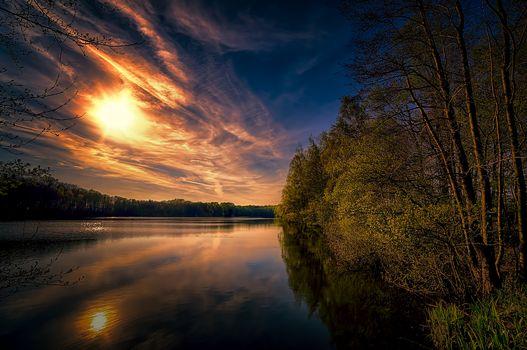 Sonnenuntergang, Herbst, See, Bäume, Landschaft