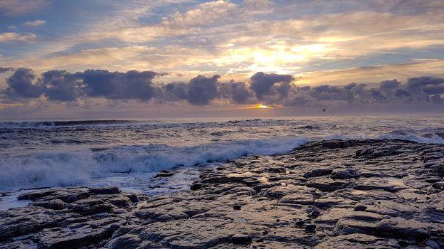 sunset, sea, waves, rocky, Coast, sky, clouds, landscape