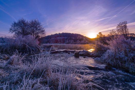 Sonnenuntergang, Fluss, Steine, Kurs, Bäume, Raureif, Landschaft